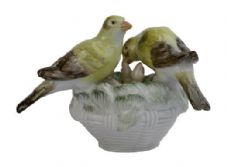 Meissen Porcelain Bird Figurine - Canaries on Nest